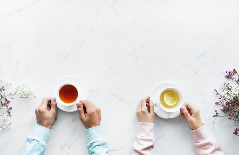 並んでお茶